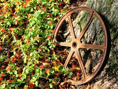 12889533-Rusty-iron-wagon-wheel-used-as-decoration-in-an-autumn-garden--Stock-Photo
