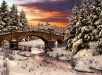 Beautiful Winter Landscape Colorful Colors Bridge Trees Nature Bird Morning HD Picture