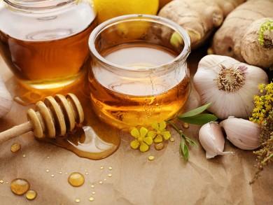 Honey, garlic, herbs, lemon and ginger - natural medicine, healt
