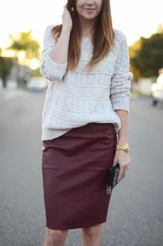 02-a-white-sweater-and-a-burgundy-leather-pencil-skirt-create-a-comfy-and-girlish-fall-look