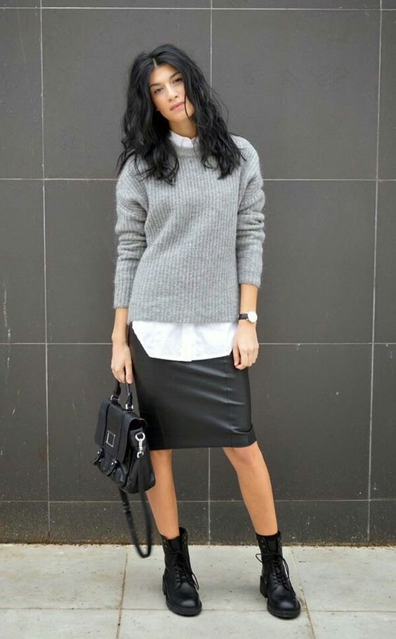 07-a-black-leather-knee-skirt-a-white-shirt-a-grey-sweater-black-boots-and-a-bag-for-a-creative-job