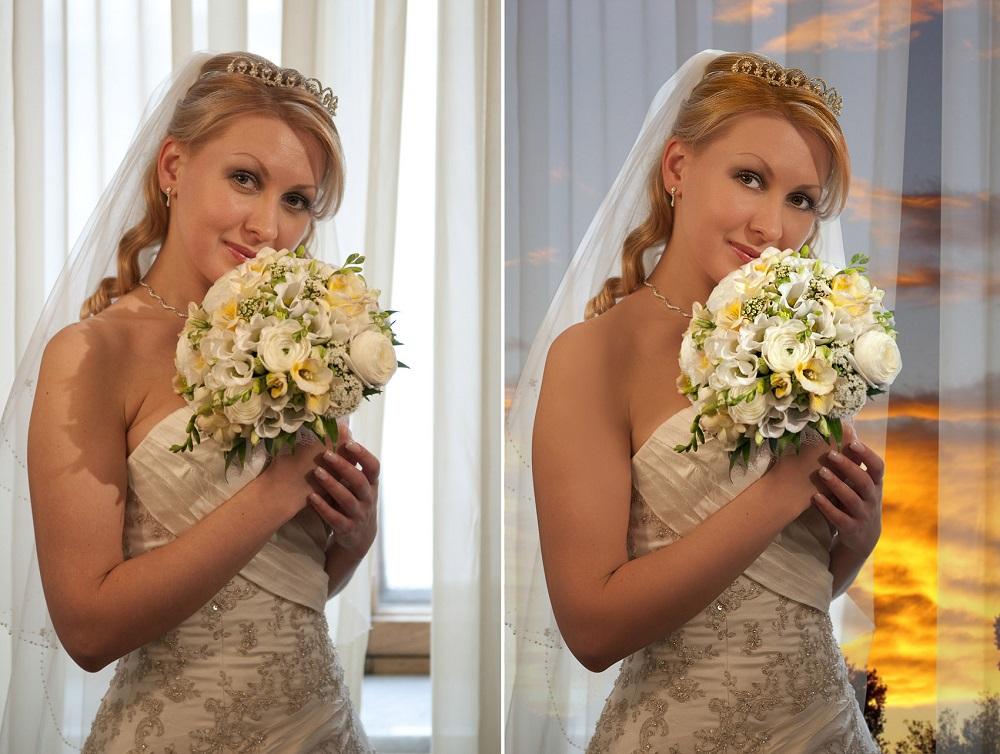 Darba piemērs kāzu foto sērijai. Pirms un pēc apstrādes.