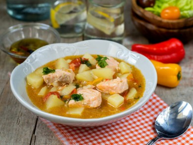 Marmitako tuna pot fish salmon stew with potatoes